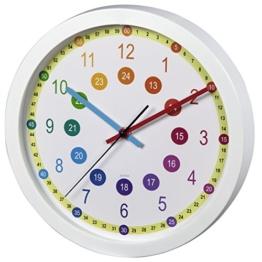 Hama Kinderwanduhr zum Lernen der Zeit (ohne Ticken Easy Learning, Lernziffernblatt mit Ø 30 cm, geräuscharme, analoge Wanduhr für Kinder, Lernuhr, Kinderuhr) weiß - 1