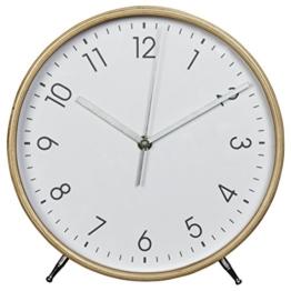 Hama Tischuhr Wanduhr aus Holz (geräuscharme Uhr ohne Ticken, 22 cm Durchmesser, Standuhr) weiß/natur - 1