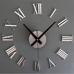 Helioze Modern 3D DIY Frameless Digital Wanduhr Römische Ziffern Große Uhren 60-130cm Durchmesser Dekorative Für Wohnzimmer, Büro (Silber) - 1