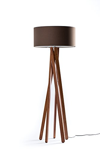 hochwertige design stehlampe tripod mit stoffschirm in creme braun und stativ gestell aus holz. Black Bedroom Furniture Sets. Home Design Ideas