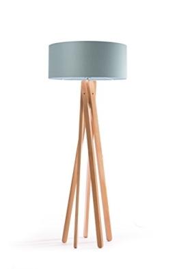 Hochwertige Design Stehlampe Tripod mit Stoffschirm in grau und Stativ/Gestell aus Holz (Buche) | H= 160cm | Stehleuchte | Natur | Handgefertigte Leuchte - 1