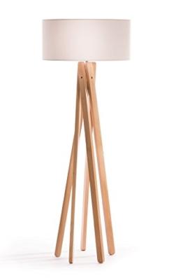 Hochwertige Design Stehlampe Tripod mit Stoffschirm in weiß und Stativ/Gestell aus Holz Echtholz (Buche) | H= 160cm | Stehleuchte | Natur | Handgefertigte Leuchte - 1