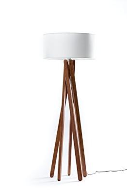 Hochwertige Design Stehlampe Tripod mit Stoffschirm in weiß und Stativ/Gestell aus dunklem Holz Echtholz Nussbaum | H= 160cm | Stehleuchte | Handgefertigte Leuchte - 1