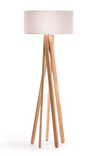 hochwertige design stehlampe tripod mit stoffschirm in wei und stativ gestell aus holz echtholz. Black Bedroom Furniture Sets. Home Design Ideas