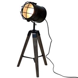 Holz Stativlampe mit Metallscheinwerfer E14 H64cm Schwarz / Natur - Stehlampe Dreibeinlampe Dreibein Tripod Tripodlampe Stehleuchte Studioleuchte Studiolampe Stativleuchte Stativ Studio Lampe - 1
