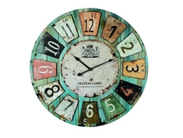 "Holz Wanduhr ""Chateau"" Ø 60 cm, grosse Uhr in Vintage-Look - 1"