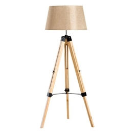 Homcom® Stehlampe Stehleuchte Standleuchte höhenverstellbar E27, Kiefer+Polyester, 65x65x99-143cm (Beige) - 1