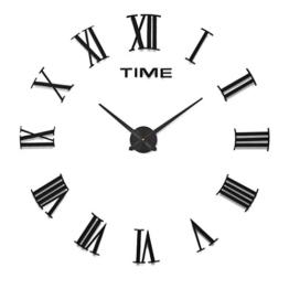 HOME IMPRESSION (54 Arten) am reichlichsten Stile große Wanduhr, 60-130cm Durchmesser Große dekorative Wanduhren Home Decor DIY Uhren Wohnzimmer (A B 1 Most Popular, #1 Black dial, black acrylic mirror) - 1