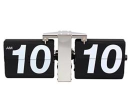 KABB Retro Groß Wanduhr Tischuhr Flip Clock Uhr für Zuhause Büro Wohnzimmer Batteriebetrieben (Schwarz) - 1