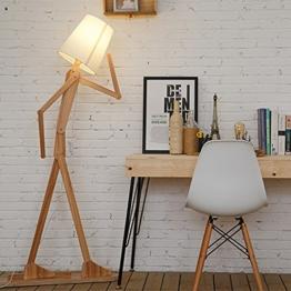 KKG® Holz Original-1.6m Stehleuchte Raum Stehleuchte Variety Charakter-Modellierung Shade Leinen Weiß Moderne Kühler für Schlafzimmer Wohnzimmer (Hellbraun) - 1