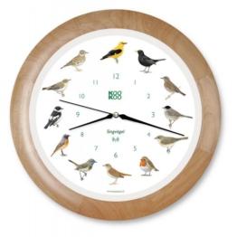 Kookoo Funk-Wanduhr Singvögel Holz - 1