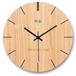 Kreative minimalistische Mode Nordic Wanduhr Wohnzimmer Schlafzimmer Holz Quarz Wanduhr moderne stumme Kunst hängende Uhr, 30.5CM * 30.5CM - 1