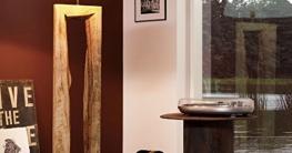 Licht-Trend Timber Stehleuchte mit Holzfuß h126 cm Braun Holz Stehlampe - 1