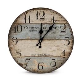 LOHAS Home Wanduhr - Clement - Holz Küchenuhr mit großem Ziffernblatt aus MDF, Retro Uhr im angesagtem Shabby Chic Design mit leisem Quarz-Uhrwerk, Ø: 30cm (Victor Hugo) - 1