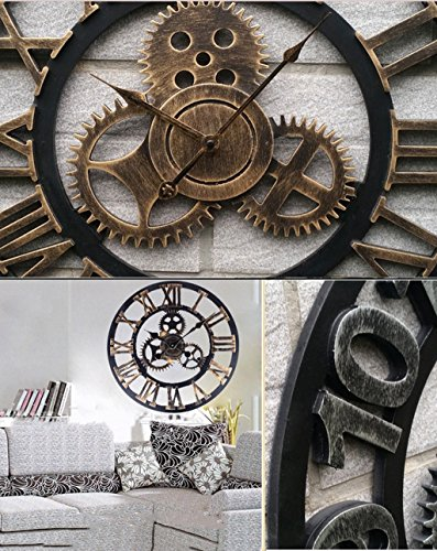 metall pr zise wanduhr kreativer h lzerner wand taktgeber retro zahnrad gro er wand aufh nger. Black Bedroom Furniture Sets. Home Design Ideas