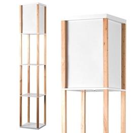 MiniSun – Moderne und naturfarbige Stehlampe aus Holz und weißem Gewebe mit eingebauten Regalen im skandinavischen Stil – Stehlampe mit Regalen - 1