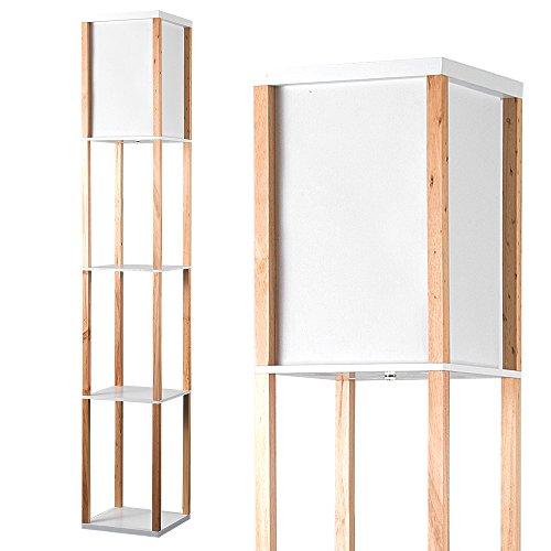 minisun moderne und naturfarbige stehlampe aus holz und wei em gewebe mit eingebauten regalen. Black Bedroom Furniture Sets. Home Design Ideas