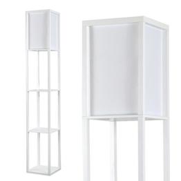 MiniSun – Moderne und weiße Stehlampe aus Holz und weißem Gewebe mit eingebauten Regalen im skandinavischen Stil – Stehlampe mit Regalen - 1