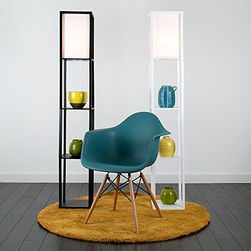 minisun moderne und wei e stehlampe aus holz und wei em gewebe mit eingebauten regalen im. Black Bedroom Furniture Sets. Home Design Ideas