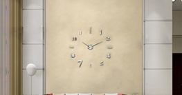 Moderne 3D XXL Wanduhr Ghom Große Designer DIY Deko-Uhr Extra leise Silber - 1