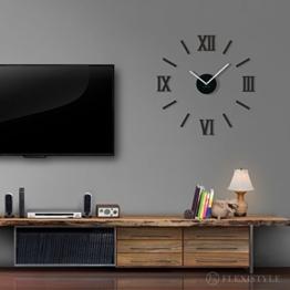 Moderne Wanduhr Admirable 3 DIY Acryl schwarz, groß, MADE in EU, still, Wohnzimmer, Schlafzimmer - 1