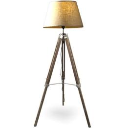 MOJO® Stehlampe Höhenverstellbar Stehleuchte Tripod Lampe Dreifuss mq-l62 (Schirm Beige, Beschläge Chrom) - 1