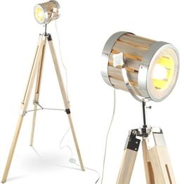 MOJO Tripod Industrial Chic Holz Stehlampe Vintage Designer Lampe höhenverstellbar mq-l43 - 1