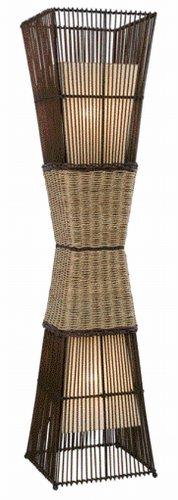 Nino Leuchten Stehleuchte Bamboo / Höhe:130 cm / Bambus, Korbgeflecht, innenliegender Stoffschirm creme / 2-flammig 40050243 - 1