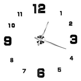 NUOLUX DIY 3D Wanduhr Dekoration Uhr Große Wanduhr 3D Spiegel Oberflächen Große Uhr Zimmerdeko (schwarz) - 1