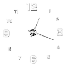 NUOLUX DIY 3D Wanduhr Dekoration Uhr Große Wanduhr 3D Spiegel Oberflächen Große Uhr Zimmerdeko (weiß) - 1
