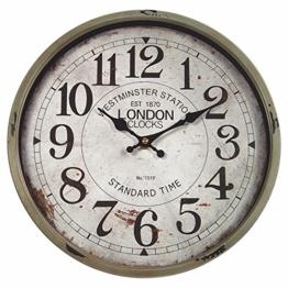 perla pd design Metall Wanduhr mit Glasscheibe Vintage Design London Farbe schlamm lackiert ca. Ø 30 cm - 1
