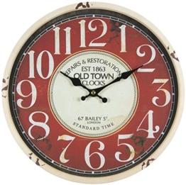 perla pd design Metall Wanduhr mit Glasscheibe Vintage Design OLD TOWN altweiß lackiert ca. Ø 30 cm - 1