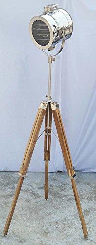 Shiv (TM Shakti Unternehmen Royal Design-Nautical chrom Spot Light Moderne Teak Holz Stativ Stehlampe Searchlight - 1