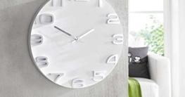 SIDCO ® Wanduhr Future analog 3D Uhr weiß Deko-Uhr modern Design 35 cm - 3