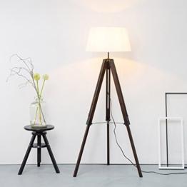 Stativ Stehleuchte mit Textilschirm, Tripod Dreibein aus Holz, H 145 cm, Ø 45 cm, 1x E27 max. 60W, Metall / Holz / Textil, holz dunkel / weiß - 1