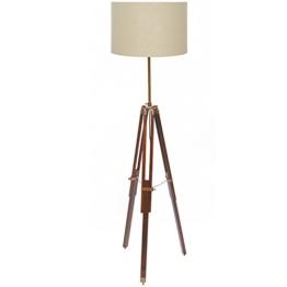 Stehlampe drei Beine, Dunkles Holz - 1
