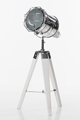 Stehlampe Spotlight auf Holz - Dreibein 64 cm silberner Spot - 1