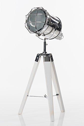stehlampe spotlight auf holz dreibein 64 cm silberner. Black Bedroom Furniture Sets. Home Design Ideas