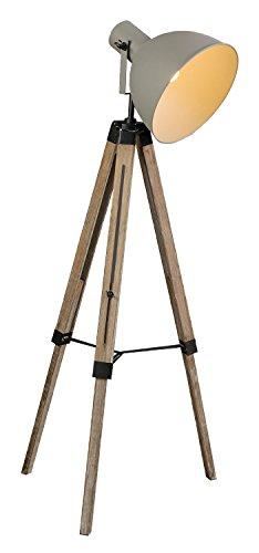 Stehlampe Stehleuchte Standleuchte NIKAJA | Grau-Braun | Metall | Holz | Höhenverstellbar | Neigbar - 1