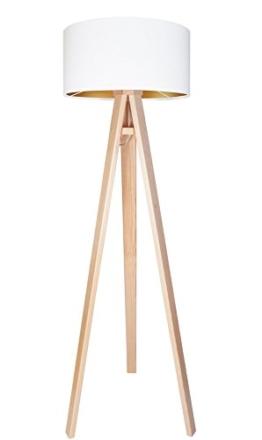 Stehleuchte Jalua F Velours white & gold mit Dreibein aus Holz H: 140cm - 1