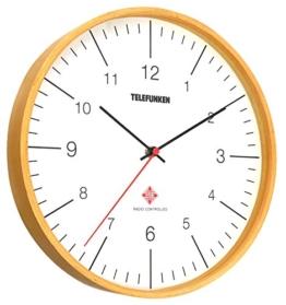 TELEFUNKEN FWU-23-HS (WF), Funk-Wanduhr mit edlem Slimline-Echtholz-Rahmen in Eicheoptik, 23cm, Funk Wanduhr Eiche Holzwanduhr Holz-Wanduhr analog - 1