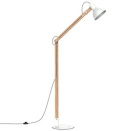 Tomons LED Stehlampe Holz, skandinavischer Stil, warmes und elegantes Design, schlichte Form max. 40W, E27, Höhe 147 cm, Multi-Winkel Schwingarm für Wohnzimmer, Schlafzimmer, Esszimmer usw., FL1001 - 1