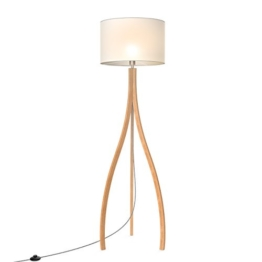 Tomons Stehlampe im modern-künstlerischen Stil, Lampenschirm aus weißem TC-Stoff, E26/ E27 Schraubgewinde, 160 cm Höhe, 1,4 m Kabel mit Fußschalter - FL2002 - 1