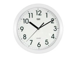 Trevi 3301 - Design-Wanduhr mit Quarzwerk - Kein Ticken - 25cm Durchmesser - Weiß - 1
