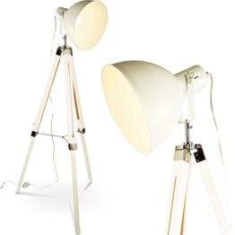 Tripod Dreifuß Stehlampe Tischleuchte Industrial Retro Design Stehleuchte höhenverstellbar mq-l65 (weiss) - 1