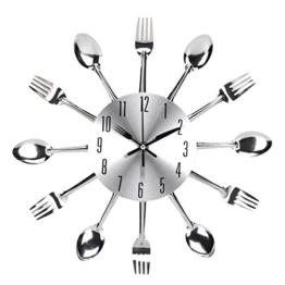 UNIQUEBELLA Besteck Uhr Besteckuhr Küchenuhr Wanduhr Analoger Uhr Metall D 33 cm in Silber - 1