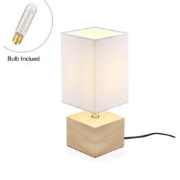 Viugreum Nachttischlampe Schreibtischlampe Atmosphärelapen aus Massivholz gemachtem Lampenfuß und Stofflampenschirm, ideale Beleuchtung für Schlafzimmer, Wohnzimmer, Bettschrank,Kaffeetisch (weiß 2) - 1