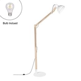 Viugreum Stehlampe Stehleuchte Standleuchte Holz Metall Höhenverstellbar, Stabilität Stehlampe für Wohnzimmer und Schlafzimmer (Weiß) - 1
