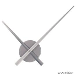 Wandkings Wanduhr SOLO XL mit Uhrwerk & extra großen Uhrzeigern - Farbe: SILBER - 1