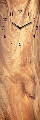 Wanduhr aus Glas, Wooden Texture, Holzoptik braun, 20x60 cm von Eurographics - 1